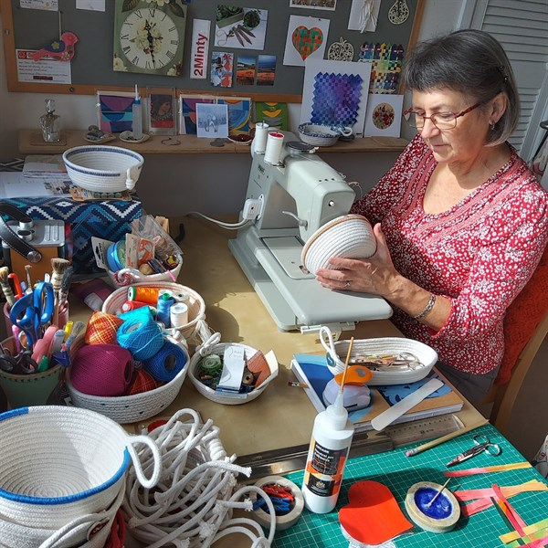Jan at the sewing machine - 2Minty Studio